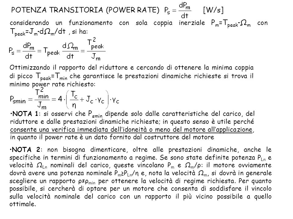 POTENZA TRANSITORIA (POWER RATE) [W/s]